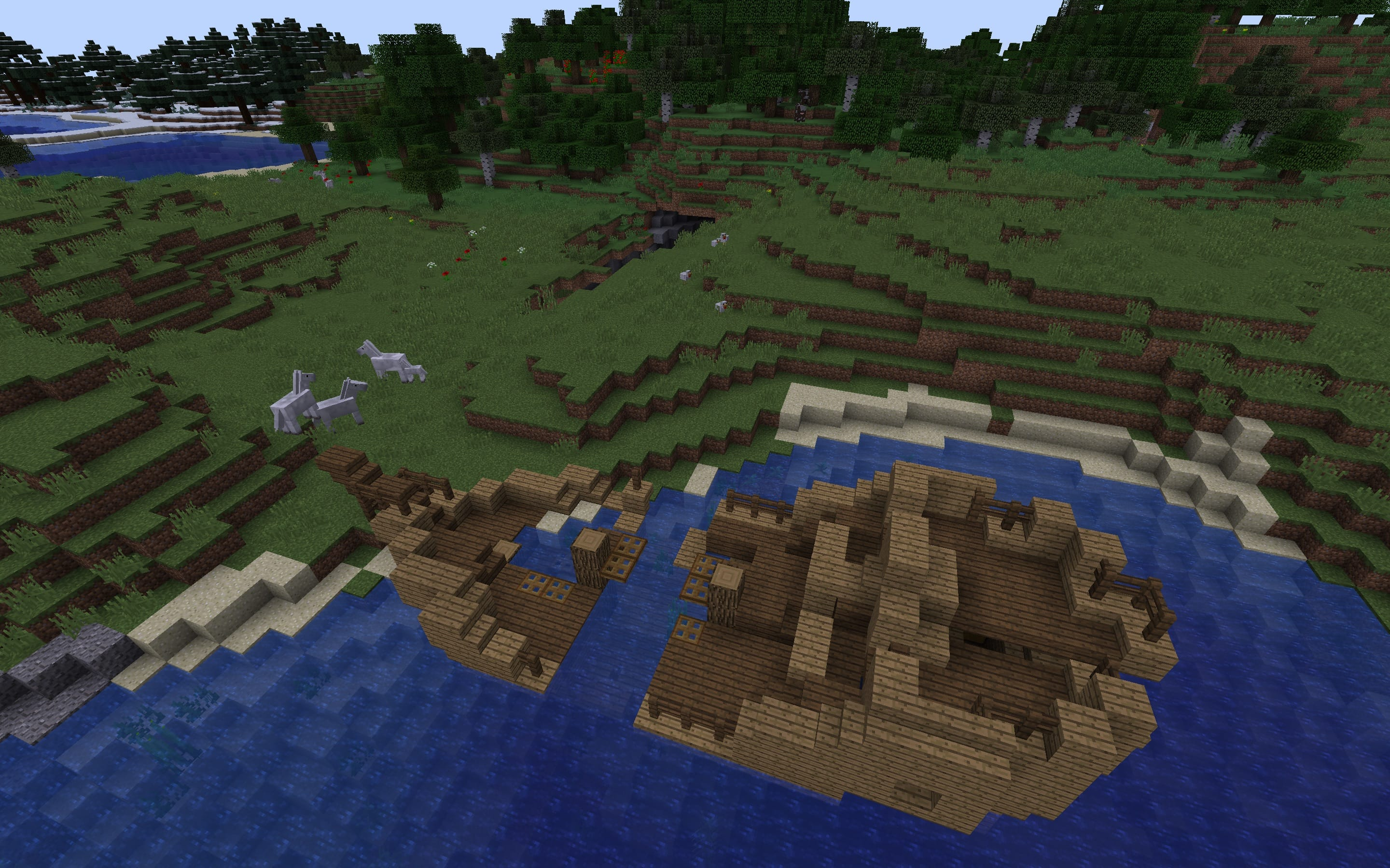 Shipwreck plus Ravine with Mineshaft at Spawn