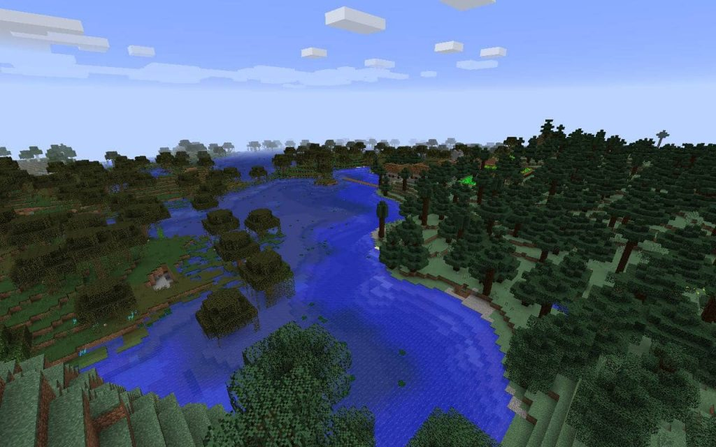 River, Swamp Biome and Village